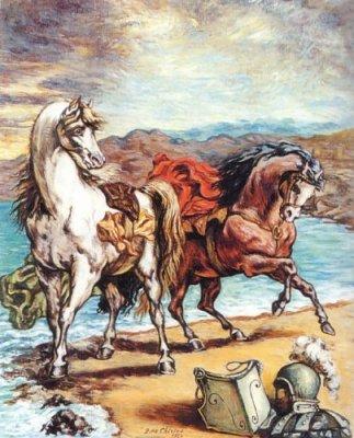 Due cavalli in riva al mare